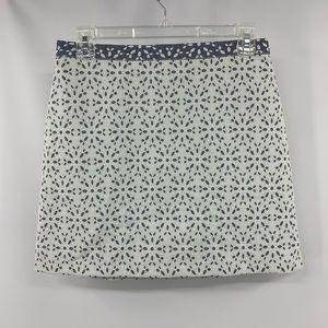 TopShop Blue Denim & White Eyelet Mini Skirt